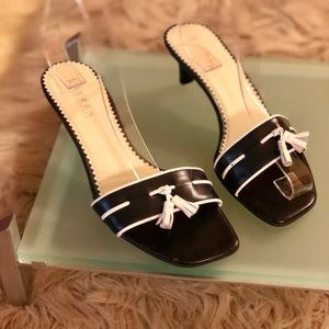 Ralph Lauren Navy & White sandal with a tassel.